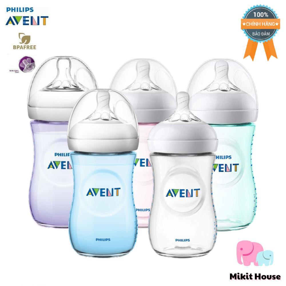 Bình sữa và núm ti cho bé Philips Avent Natural nhựa PP BPA Free cổ rộng mô phỏng tự nhiên 125 / 260ml chính hãng. Tách lẻ bình [Mikit-House]