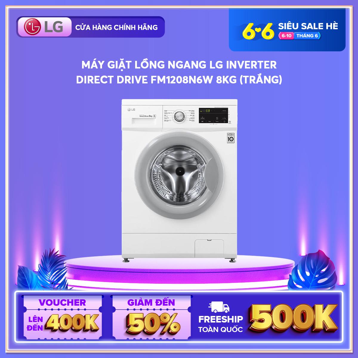 [Trả góp 0%][FREESHIP 500K TOÀN QUỐC] Máy giặt lồng ngang LG Inverter Direct Drive™ FM1208N6W 8kg (Trắng) – Hãng phân phối chính thức