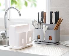 Giá đựng đũa thìa dụng cụ nhà bếp kèm khay ráo nước