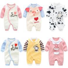 Bodysuit Body dài tay Cotton cho bé trai bé gái 0-13 tháng tuổi Hàng Quảng châu xuất Nhật SL01 (Áo liền quần, sleepsuit cho bé)