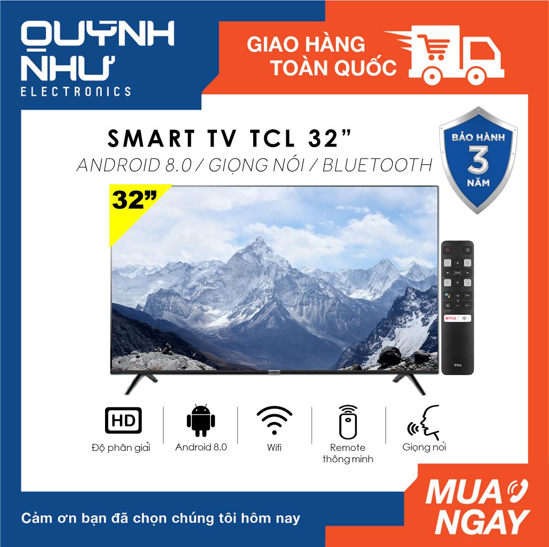 (Trả góp 0%) Smart Voice Tivi TCL 32 inch model L32S6500 (HD Ready, Android 8.0, Kết nối Internet Wifi, Bluetooth,Tìm kiếm giọng nói, Dolby, Chromecast, T-cast, AI+IN -, Tặng remote thông minh, Màu đen) – Tivi giá rẻ – Bảo hành 3 năm
