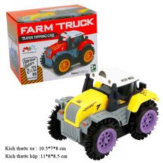 Xe ô tô đồ chơi chạy pin,xe tải nông trại cho bé, chạy bằng pin tiểu (màu vàng bánh tím-chưa kèm pin) nhựa ABS an toàn