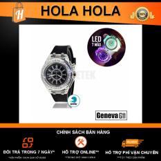 Đồng hồ Geneva G11 đính full hạt có LED (Đen)