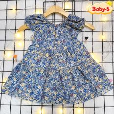 Đầm bé gái hoa nhí, Váy bé gái mùa hè cho bé 8-22kg chất thô mềm dáng xòe có thắt nơ mặt lưng đáng yêu Baby-S – SD085