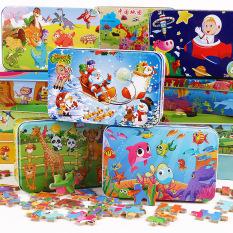 [ĐƯỢC CHỌN MẪU] Đồ chơi tranh ghép 60 mảnh gỗ puzzle hộp sắt phát triển tư duy cho bé 3-10 tuổi