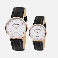 Đồng hồ đôi (2 chiếc) nam nữ thời trang dây da tổng hợp cao cấp Geneva doiGE037