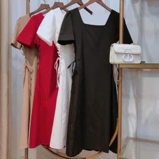 Đầm suông cổ U xỏ dây eo hot trend thời trang nữ, có size to cho người dưới 68kg