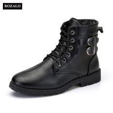 Rozalo RM5281-Giày boot nam cổ cao đính khuy cài kiểu quân đội