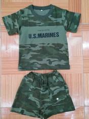 Bộ quần áo phông rằn ri xanh, lính trẻ em 1-8 tuổi