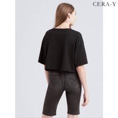 Áo thun croptop Cera-y tay ngắn cổ tròn CR0014, chất vải thun cotton mỏng nhẹ, mặc mát, dễ phối với trang phục khác
