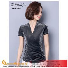 Áo thun nữ mùa hèáo kiểu ánh kim ngắn taymàu đenGLA177