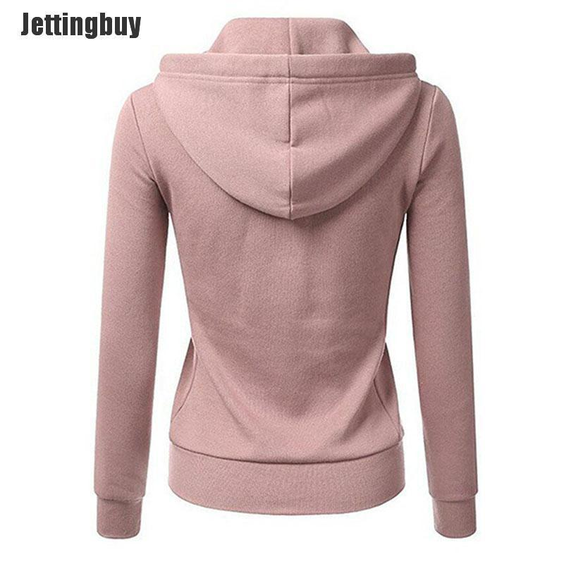 Jettingbuy ZXZ Fashion Women Hoodies Sweatshirt Zipper Jacket Warm Solid Zipper Women Hoodies