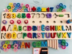 Bộ đồ chơi ghép hình bằng gỗ cho bé | Đồ chơi ghép chữ cái tiếng việt bằng gỗ nhập khẩu | Bảng học chữ cái tiếng việt nhận biết số đếm và thả cọc vòng học tính toán bằng gỗ