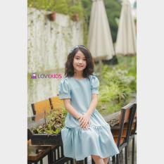 Váy suông đuôi cá tầng BG màu xanh – hồng Lovekids