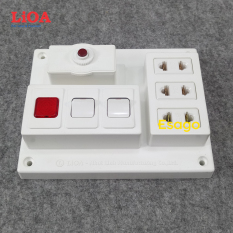Bảng điện nổi LiOA 15A có 3 ổ cắm 2 công tắc 1 đèn báo màu đỏ