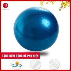 Bóng tập Yoga cao cấp Queen Yoga 65cm dày 2mm chống nổ – Tặng bơm bóng và phụ kiện
