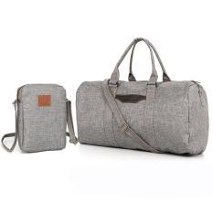 Túi xách du lịch vải canvas N992 TẶNG túi đeo chéo S210 xám