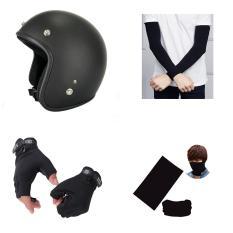 Combo phượt 4 món full đen (mũ 3/4 + găng tay tùy chọn + ống tay chống nắng + khăn đa năng)