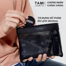 Túi đựng Mỹ Phẩm du lịch Mini cho Nam Nữ chính Hãng DASHU Hàn Quốc, thiết kế nhỏ gọn 18x15cm, thời trang, dạng lưới có khóa kéo tiện dụng, túi cầm tay, xách tay mang đi làm, di chuyển ngoài trời TM – TUI01