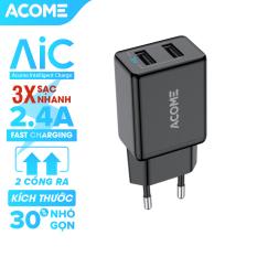 [Bảo Hành 12 Tháng] Sạc ACOME AC03 2 cổng sạc nhanh 2.4A tương thích với dòng điện thoại Android IOS an toàn khi sạc – Hàng Chính Hãng