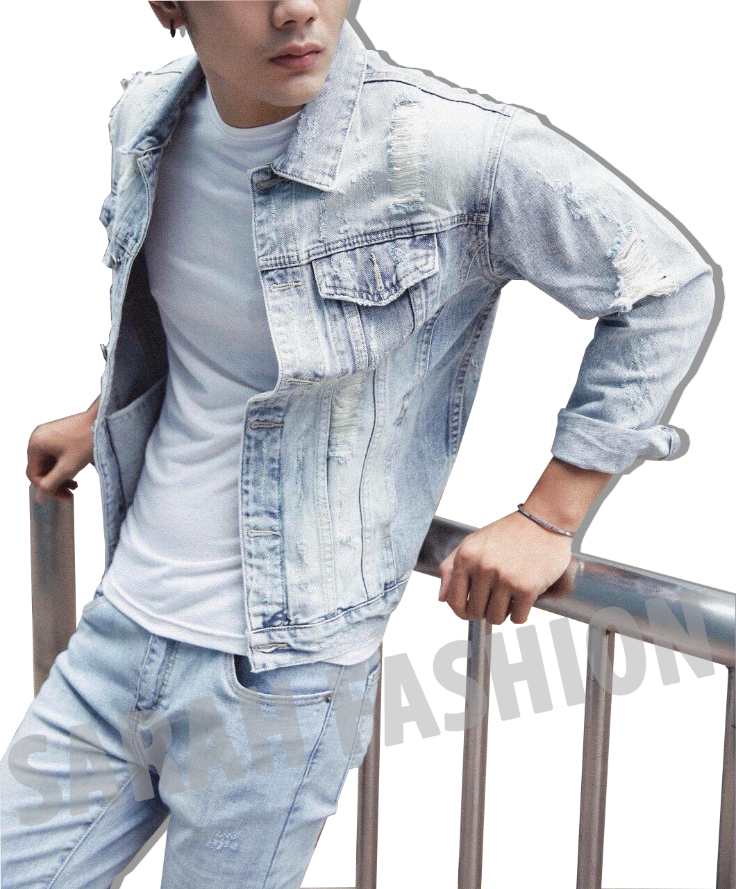 Áo khoác jean nam form rộng chất – áo khoác jean nam hàn quốc, áo khoác jean nam màu xanh thời trang SARAHFASHION – akjnsar002