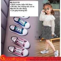 Giày thể thao bé gái đính cườm giày bé gái đế êm thoáng khí GLG119