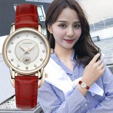 Đồng hồ nữ SANDA 198 số đính đá dây da mềm cao cấp kèm lịch ngày