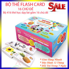 bộ thẻ học thông minh cho bé từ 1-6 tuổi, Bộ thẻ 16 chủ đề gồm 416 thẻ to song ngữ ANH-VIỆT cho bé