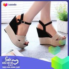 Giày Sandal Nữ Đế Xuồng Quai Đan Chéo Bảng To Thời Thượng 10cm