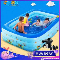 [Tặng bơm điện] Bể bơi cho bé trong nhà 3 tầng 1m8 hình chữ nhật 180x140x60 bồn tắm hơi cho bé , bồn tắm trẻ em bơm hơi + Tặng kèm keo miếng vá