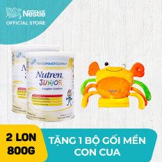 [GIẢM THÊM 40K KHI THANH TOÁN] Bộ 2 lon Sản phẩm dinh dưỡng y học 2 lon Nutren Junior cho trẻ từ 1-10 tuổi 800g + Tặng Bộ mền gối con cua