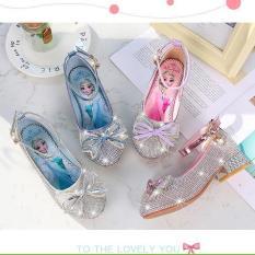Giày cao gót Elsa bé gái đính hột đá pha lê nhỏ từ 3 – 12 tuổi