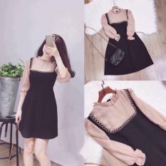 Đầm xòe kiểu phối tay lưới phong cách hàn quốc