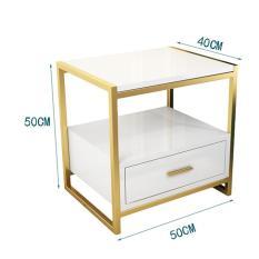 Kệ tủ đầu giường 1 ngăn kéo bằng gỗ thông khung thép không rỉ, mạ đồng, crome dùng trang trí phòng ngủ