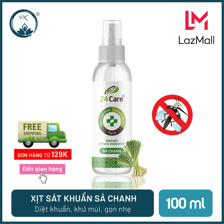 Xịt sát khuẩn Sả Chanh 24Care – diệt khuẩn 99,9%, làm sạch, đuổi muỗi, côn trùng