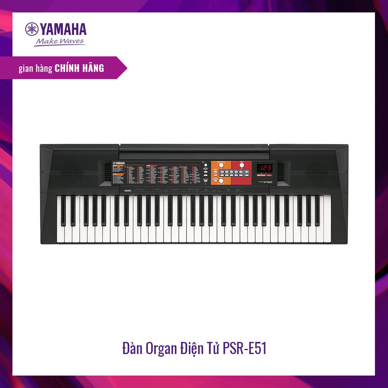 Đàn organ (keyboard) điện tử Yamaha PSR-F51 – Dòng đàn keyboard tiêu chuẩn dành cho những người mới bắt đầu,120 hệ âm sắc, 114 nhịp điệu, tích hợp Bộ gõ nhịp Metronome – Bảo hành chính hãng 12 tháng