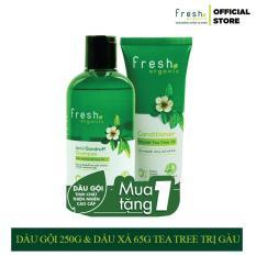 Combo Dầu Gội 250g & Dầu Xả 65g Fresh Organic Tea Tree Trị Gàu