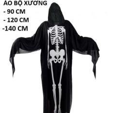 Áo Choàng Bộ Xương đầu lâu có nón halloween 90cm