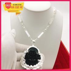Vòng cổ nam ống trúc bạc Thái – Dây chuyền khắc rồng tinh tế – Kèm mặt phật Di Lạc đá đen phong thủy