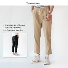 Quần dài Nam form Regular gọn gàng SSSTUTTER cạp chun thoải mái vận động 2 màu Bei Pants