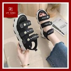 [LOẠI 1 – CÓ LÓT FORM] Giày Sandal nữ 3 quai ngang Ulzzang đơn giản nâng độn đế cao 4.5cm tôn dáng đẹp mẫu mới hot trend 2020 màu xanh/đen năng động trẻ trung đi chơi đi học mùa hè thoáng ôm gọn- YUMISHOES