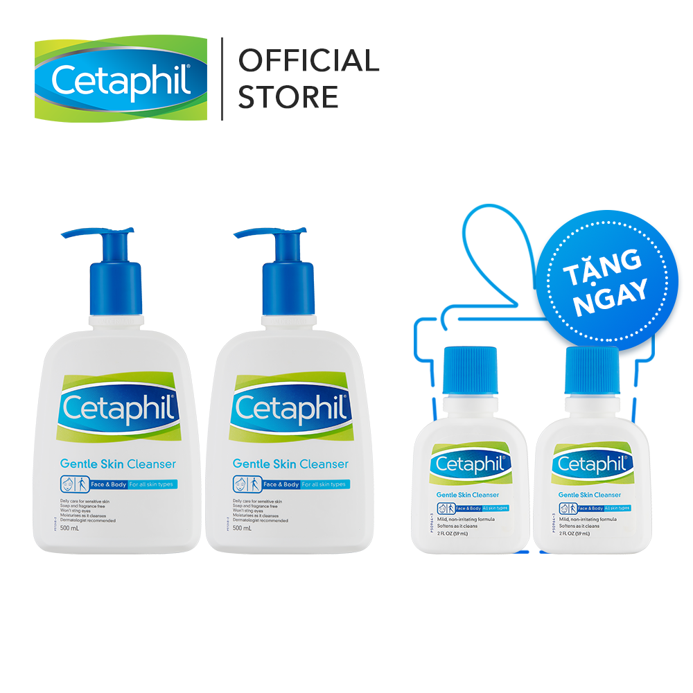 [Tặng 2 chai SRM 59ml] Combo 2 SRM Cetaphil Gentle Skin Cleaner 500ml