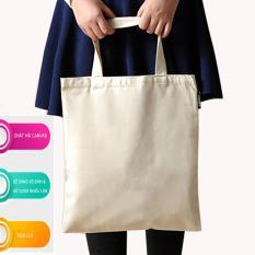 Túi vải tote canvas nữ trơn hàng xuất Nhật có khóa kéo tiện lợi