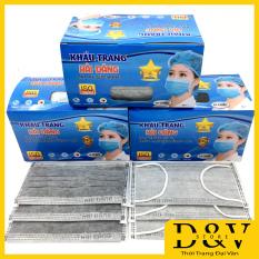 Khẩu trang y tế 4 lớp hộp 50 cái Kháng Khuẩn Ngăn Ngừa Virus Khói Bụi Đạt Tiêu Chuẩn ISO Và Kiểm Định Bộ Y Tế (3 màu xanh, trắng và xám than hoạt tính)