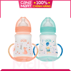 Bình sữa cho bé cổ rộng có quai Pur 250ml, Sản phẩm không chứa BPA