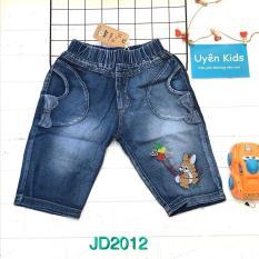 Quần Jean lững thêu thỏ vải jean cotton mỏng mềm nhẹ nhàng cho bé 20- 38kg