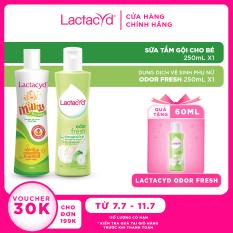 Bộ Dung Dịch Vệ Sinh Phụ Nữ Lactacyd Odor Fresh Ngăn Mùi 24H 250ml + Sữa Tắm Gội Trẻ em Lactacyd Milky 250ml