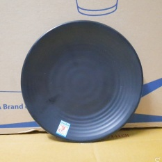 Đĩa Nhựa Melamine Đen Nhám 22cm