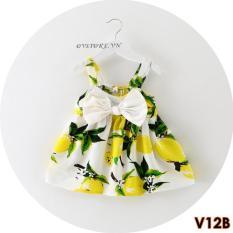 Váy Hai Dây Chanh Thắt Nơ Cho Bé Gái V12