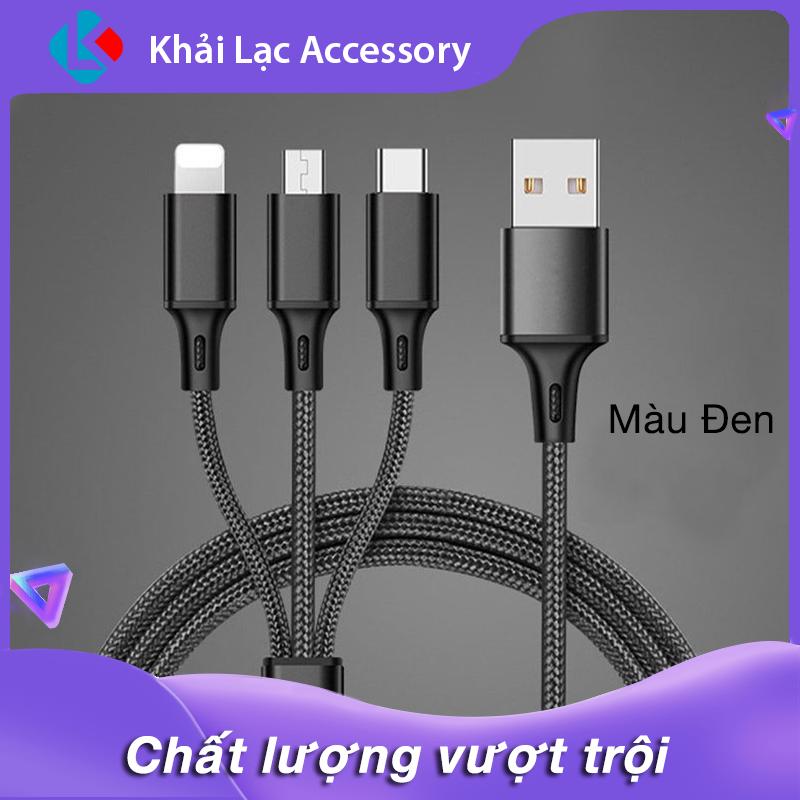 Dây Cáp Sạc đa năng 3 trong 1 hỗ trợ 3 Đầu Lightning – Micro USB – Type C, cáp sạc iphone, cáp sạc samsung, cáp sạc oppo